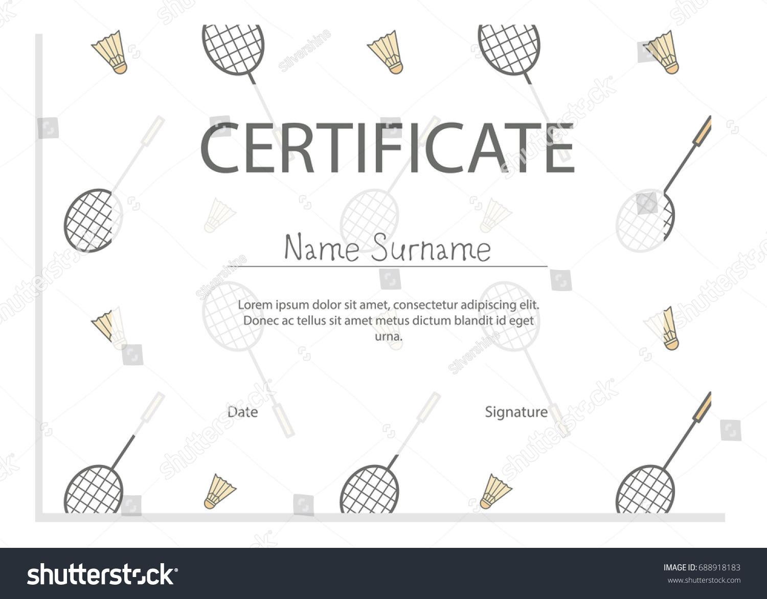Sport certificate badminton pattern stock vector 688918183 sport certificate with badminton pattern yadclub Image collections