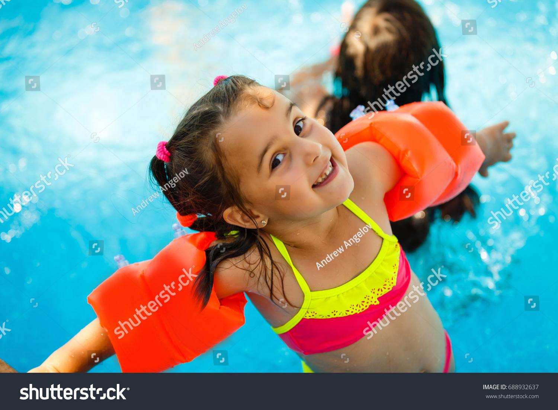 Swimming Pool Slides Children On Water Stock Photo 688932637