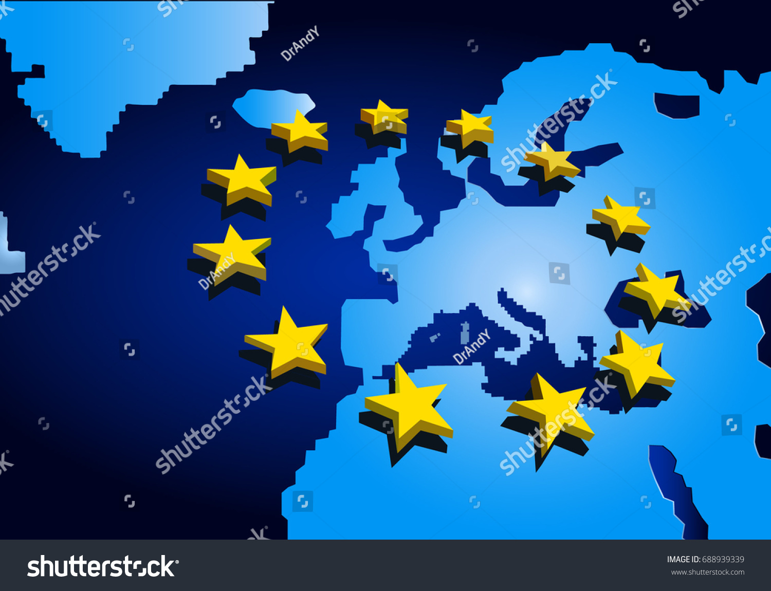 digital map europe blue color 3d stock vector 688939339 shutterstock