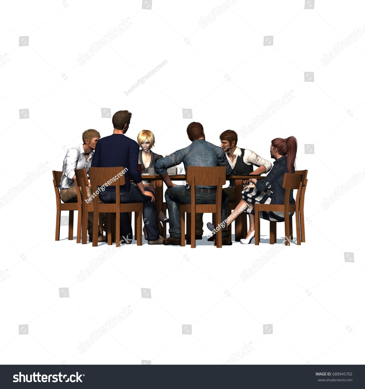people sitting at table white background. people sitting at a round table in meeting - business isolated on white background u