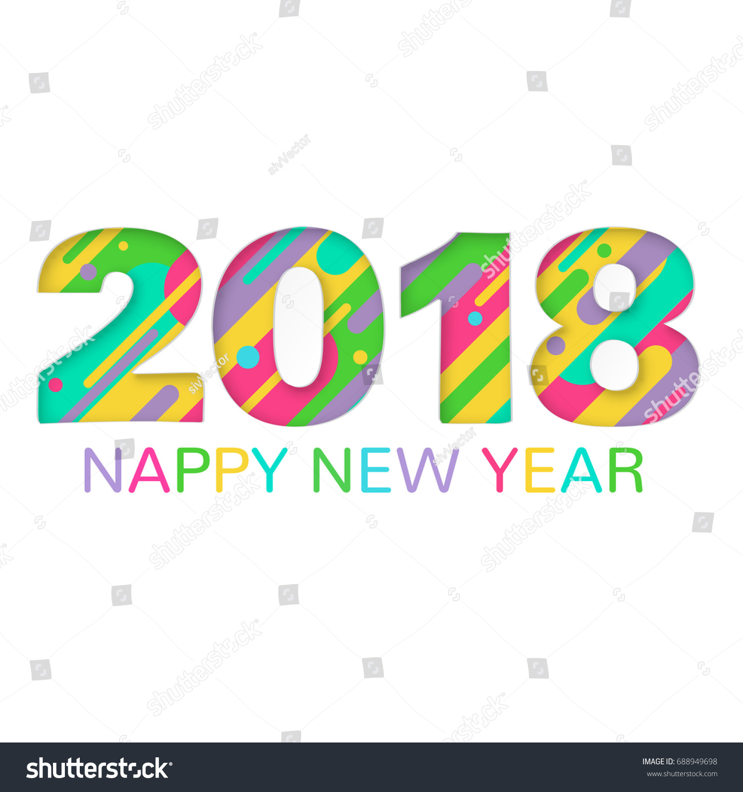 2018 happy new year greeting card stock vector 688949698 2018 happy new year greeting card with abstract colored rounded shapes lines in diagonal rhythm kristyandbryce Choice Image