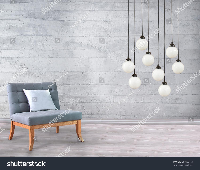 Interior Living Room Office Stone Wall Stock Photo (Royalty Free ...