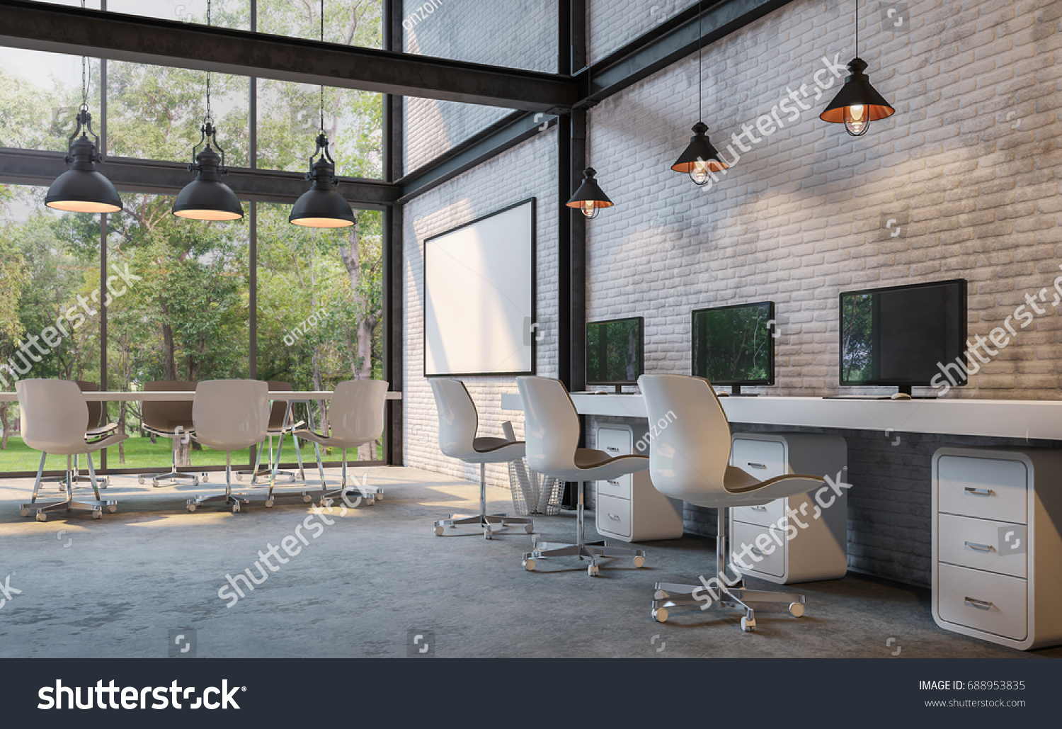 polished concrete furniture. Loft Style Office 3d Rendering Image.There Are White Brick Wall,polished Concrete Floor Polished Furniture