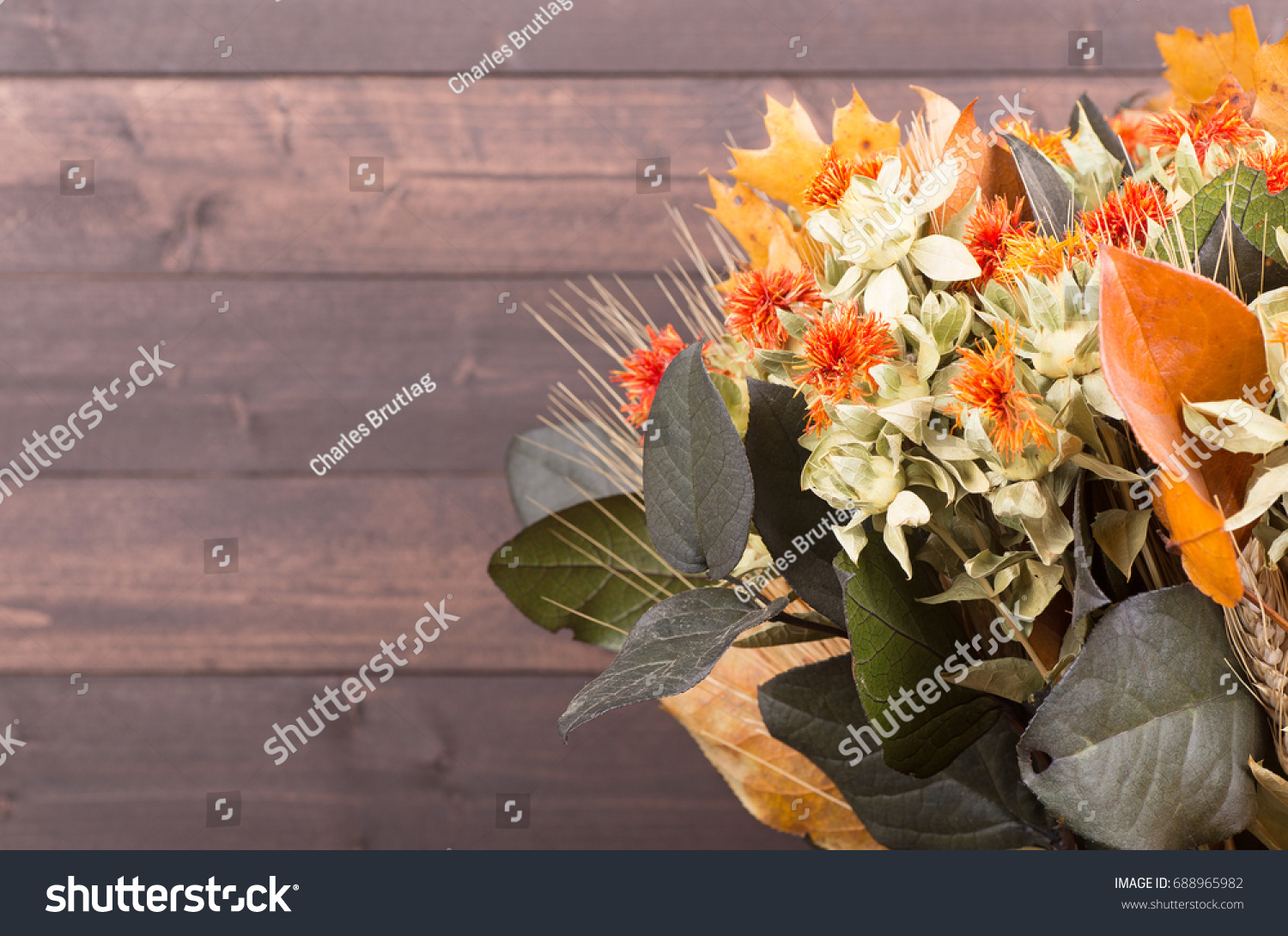 Autumn Color Dried Flower Bouquet On Stock Photo Edit Now 688965982