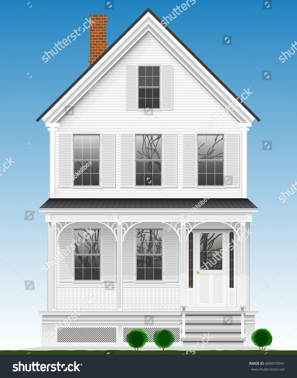 Typical classic american house made wood stock vector for Classic american house