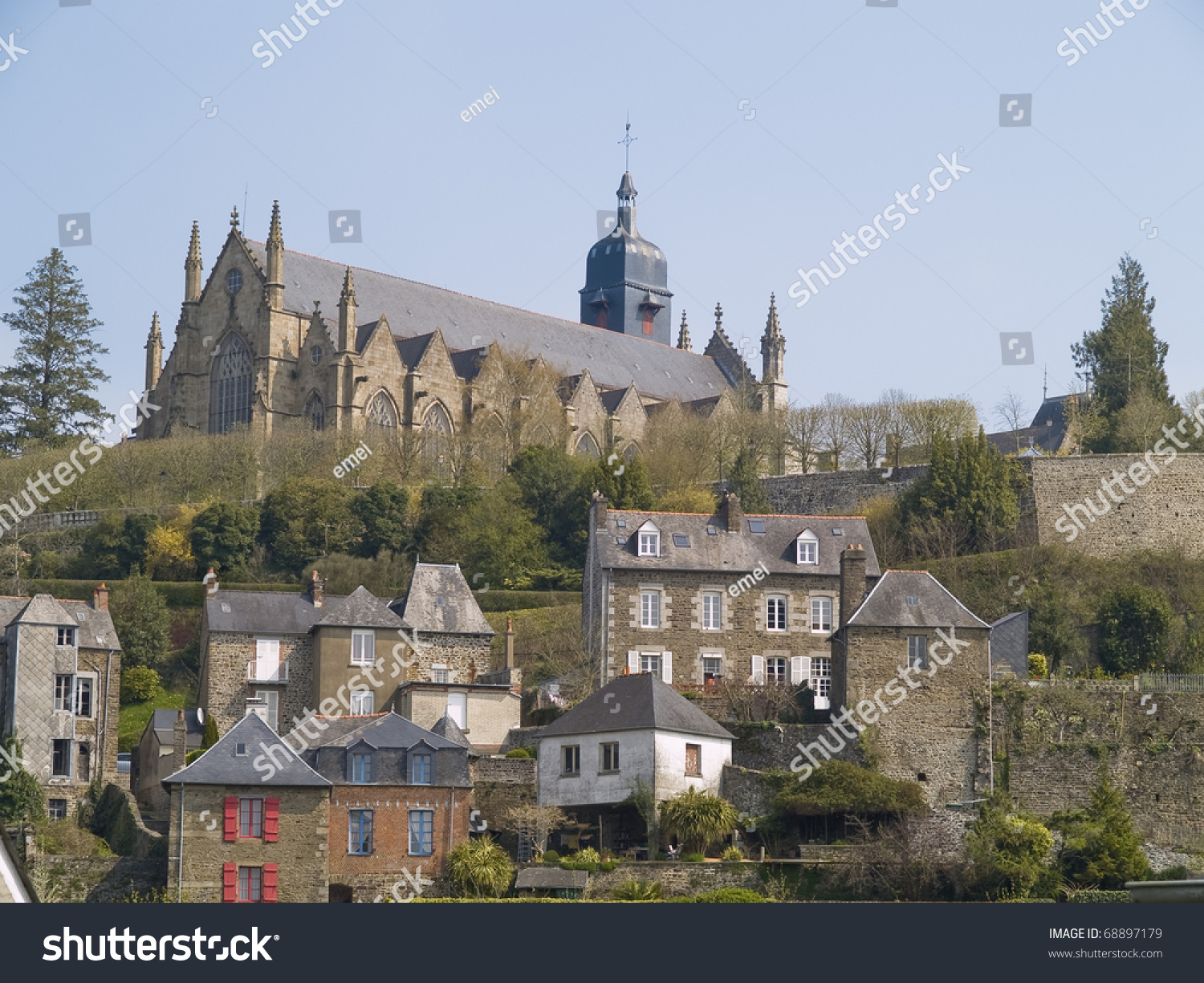 Fougeres medieval town located in brittany france stock photo