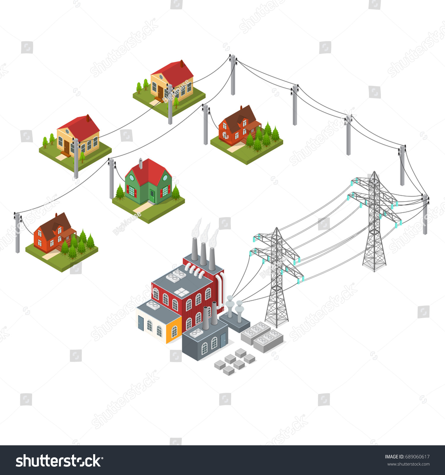 Hydroelectricity Power Station Element Set Isometric Stock Vector Hydroelectric Plant Diagram And View Alternative Energy Concept Dam On The River