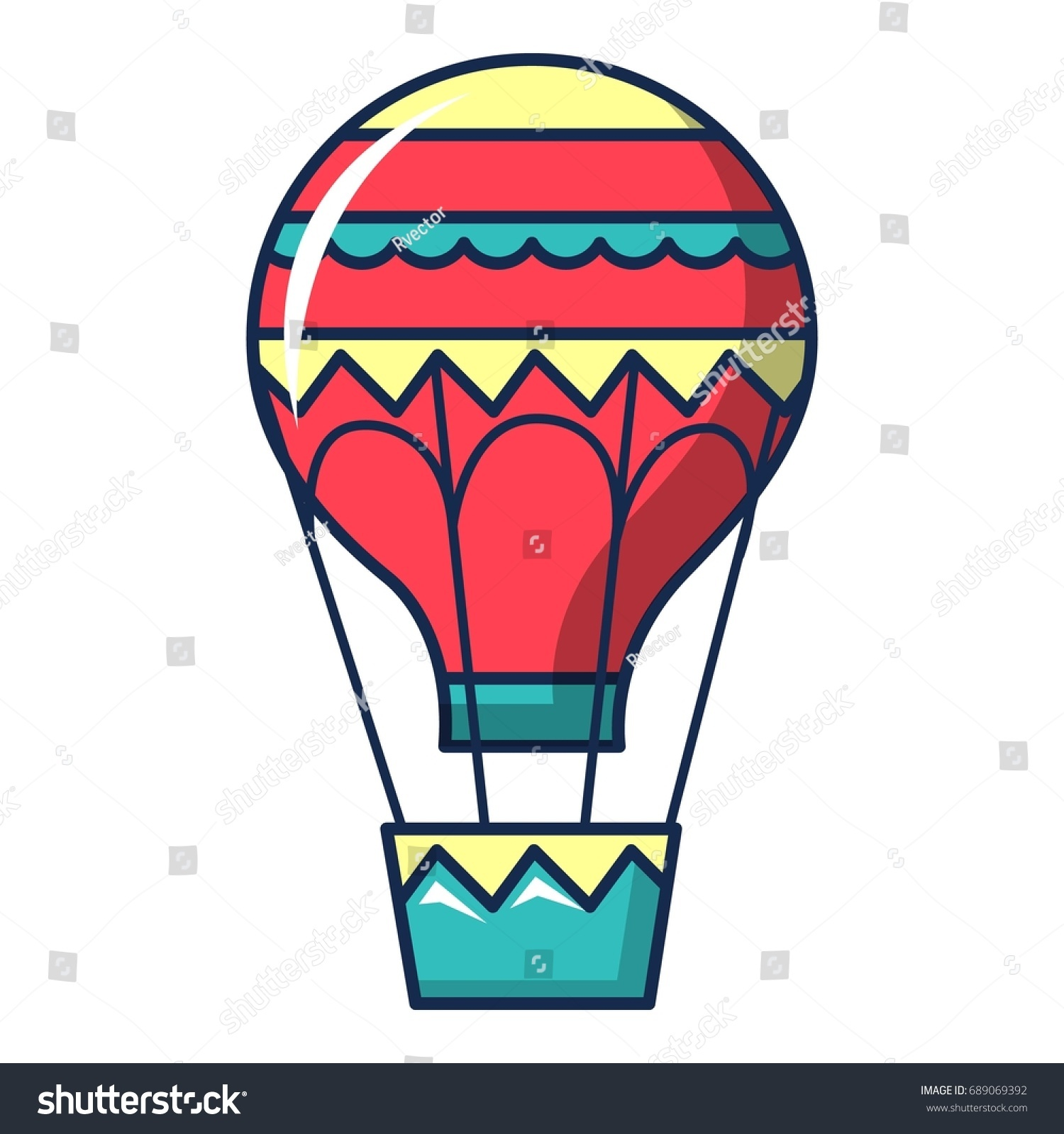 Hot Air Balloon Icon Cartoon Illustration Stock Vector Royalty Free 689069392