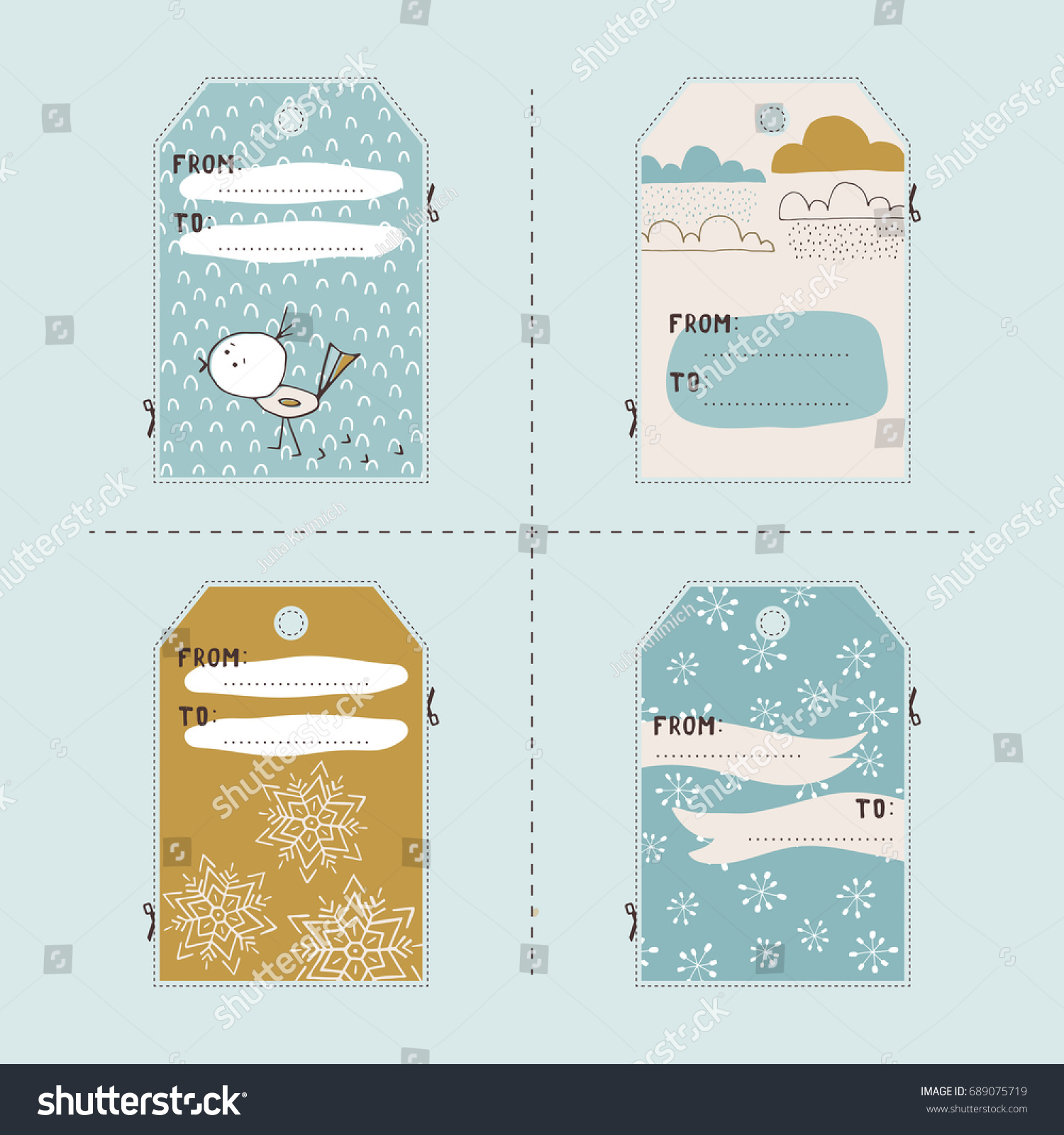vector set of winter gift tag templates printable collection for christmas and new year holidays