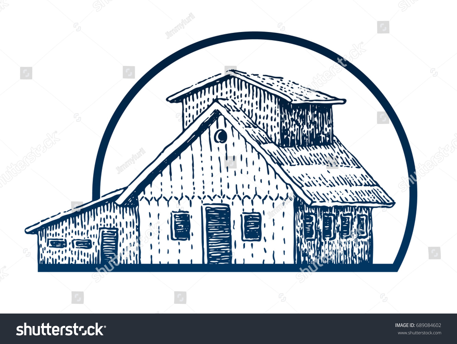 Wooden house camping round travel symbol stock vector 689084602 round travel symbol tourism hand drawn illustration in engraving style biocorpaavc Images
