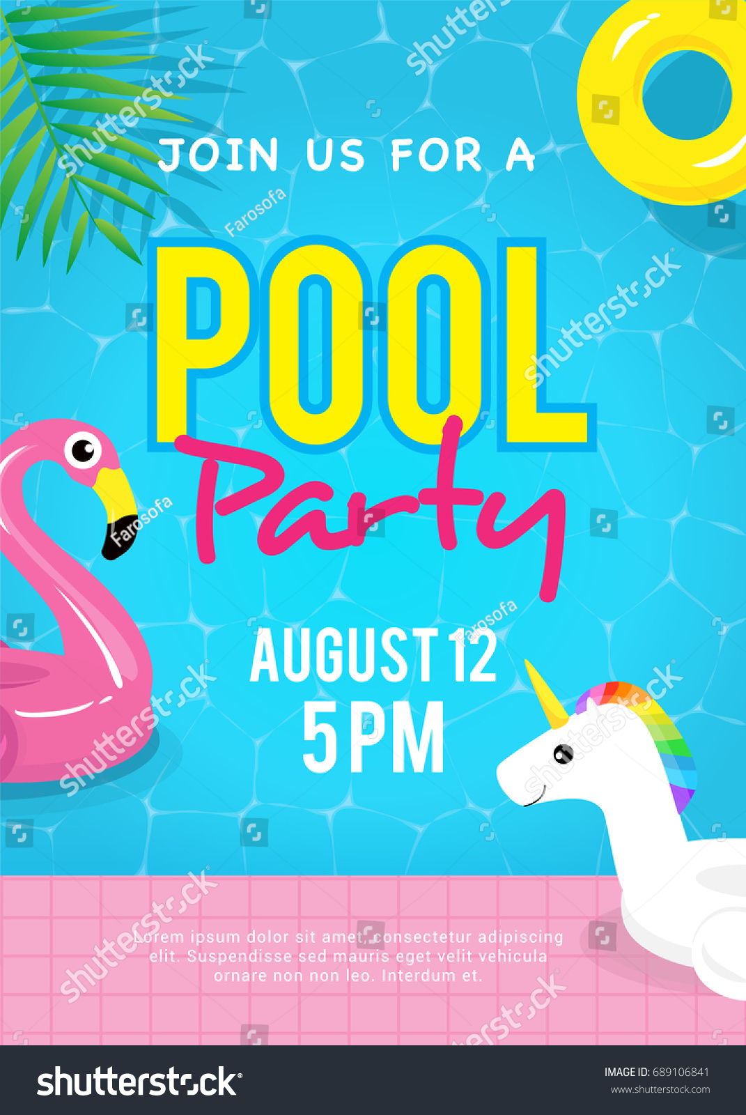 pool party invitation vector illustration swimming のベクター画像