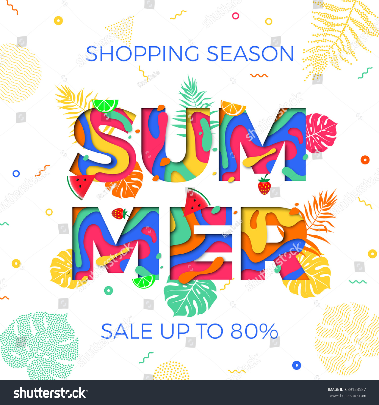 summer sale poster template online shop stock vector 689123587, Powerpoint templates