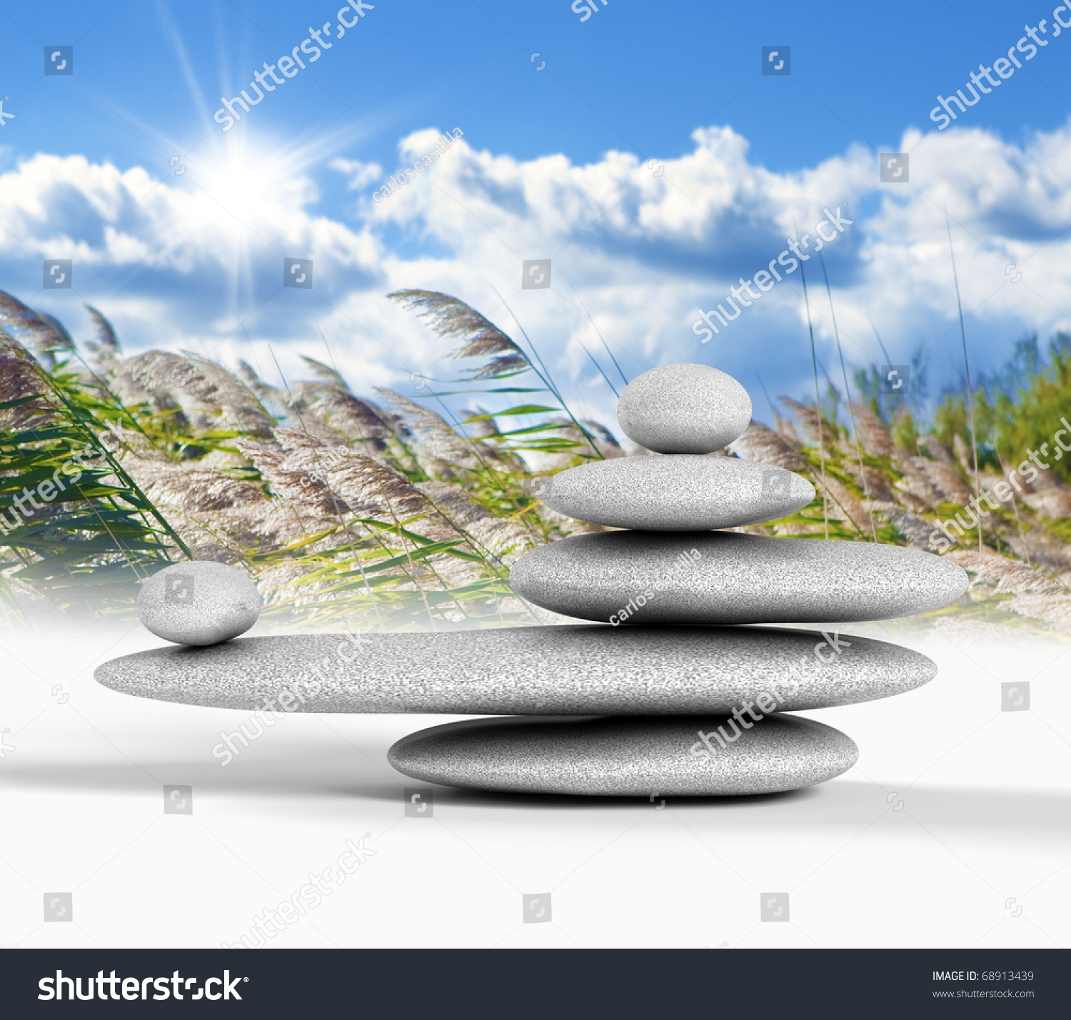 zen concept with balanced rocks sky and nature background stock photo 68913439 shutterstock. Black Bedroom Furniture Sets. Home Design Ideas