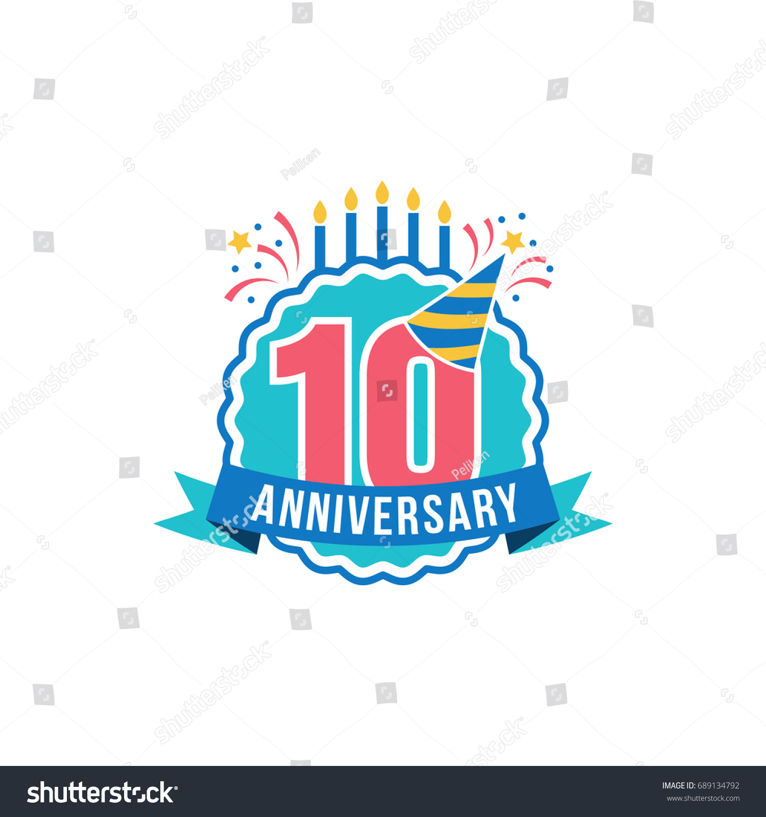 Anniversary Golden Ten Years Number 10th Stock Vector Royalty Free