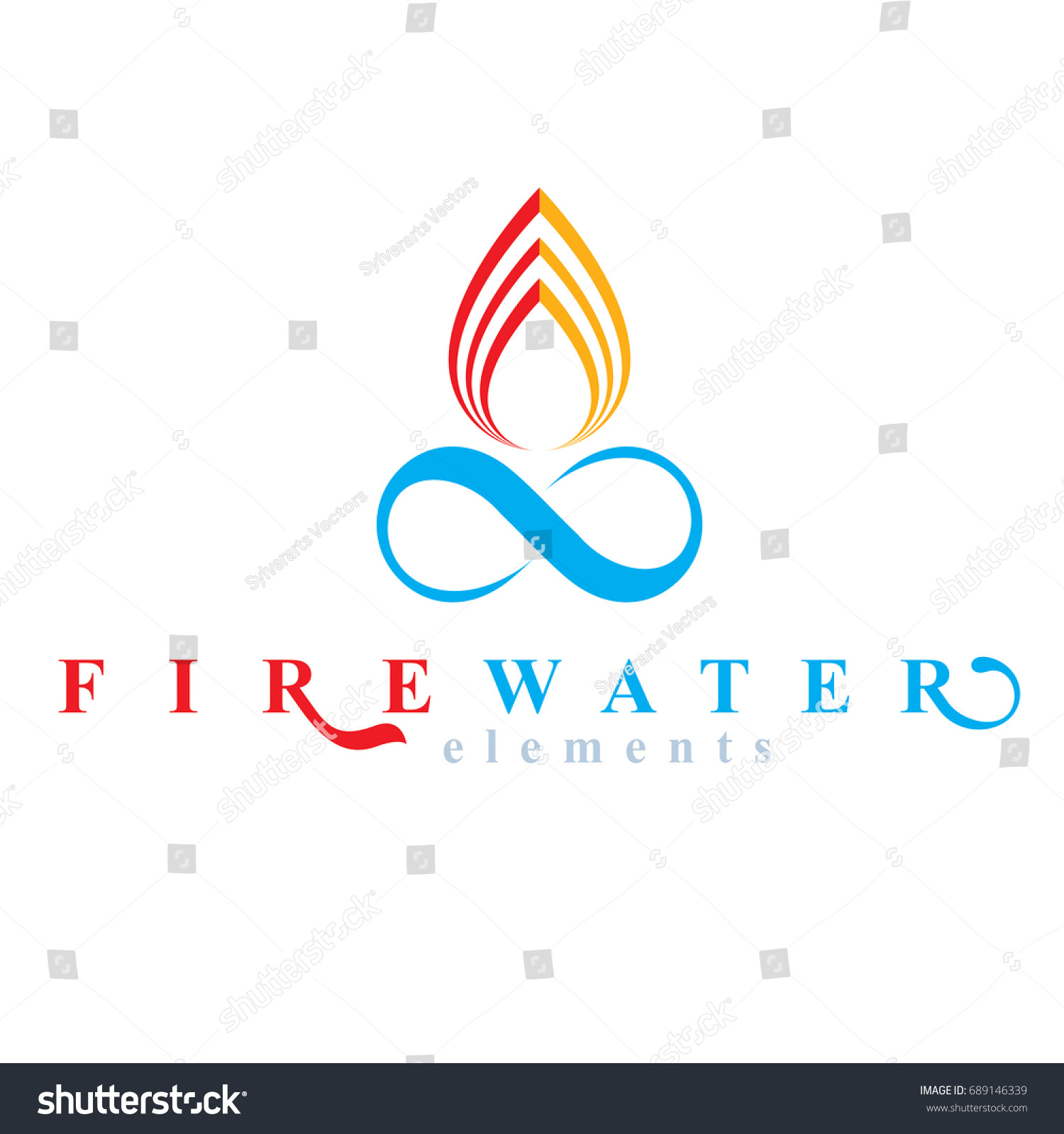 Continuous harmony between water fire nature stock vector continuous harmony between water and fire nature elements vector limitless symbol for use as business biocorpaavc Choice Image
