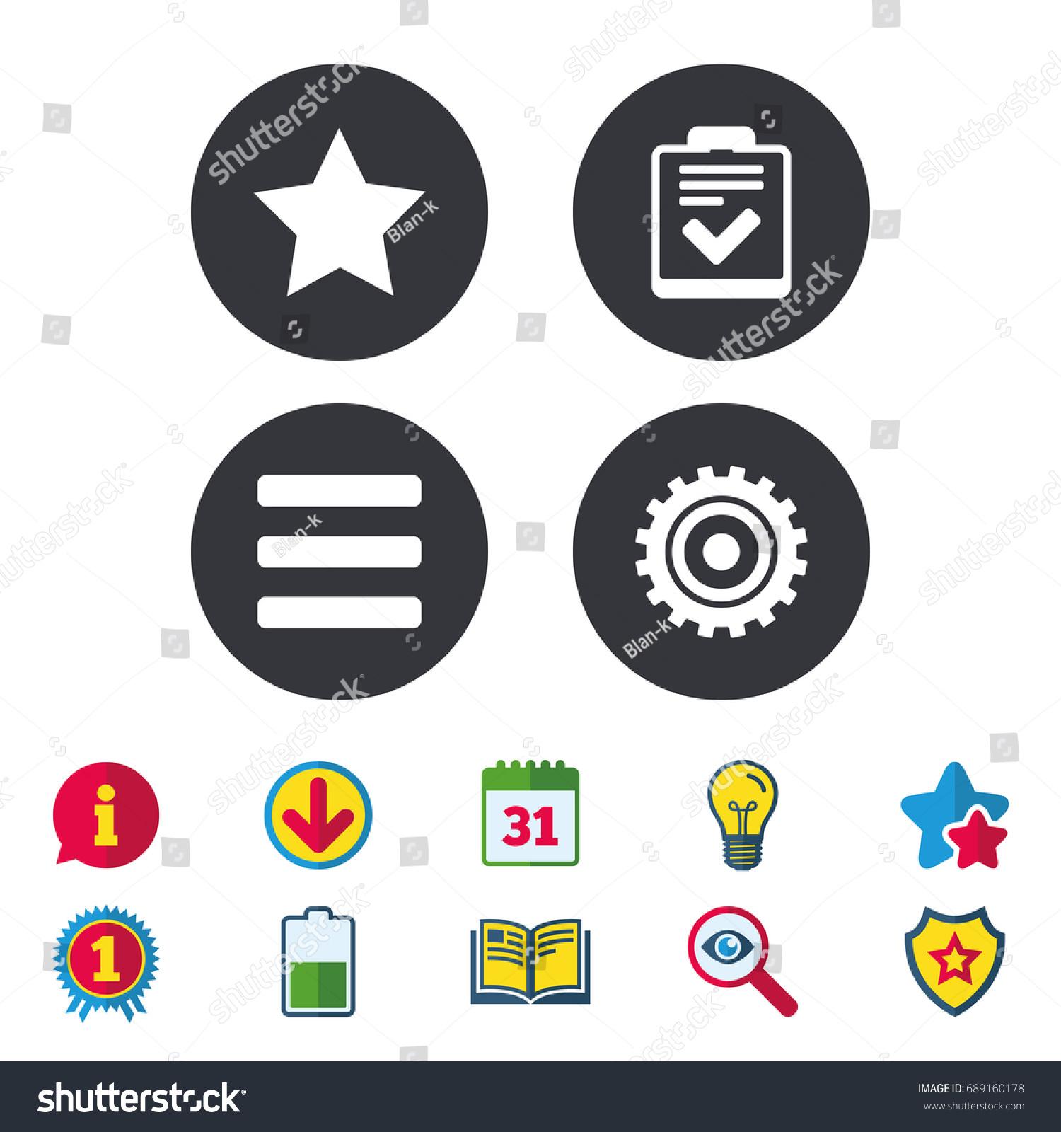 Star Favorite Menu List Icons Checklist Stock Vector 689160178