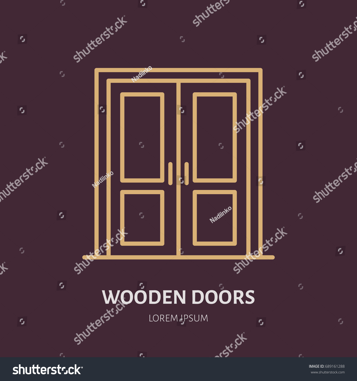 Wooden doors installation logo repair flat stock vector 689161288 shutterstock for Interior doors installation services