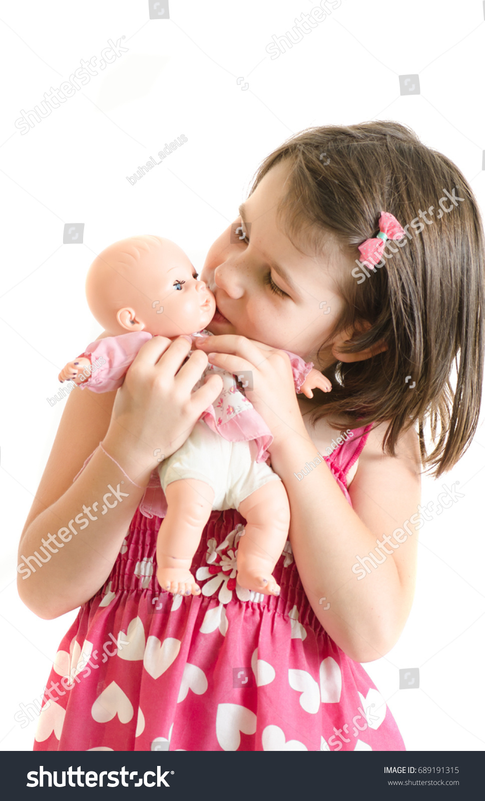 22bb2f76be80 Sweet Little Girl Pink Dress Hold Stock Photo (Edit Now) 689191315 ...