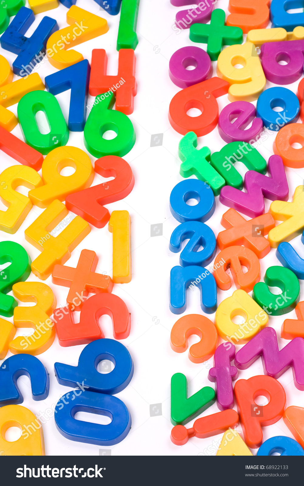 Vibrant Numbers Letters Isolated White Stock