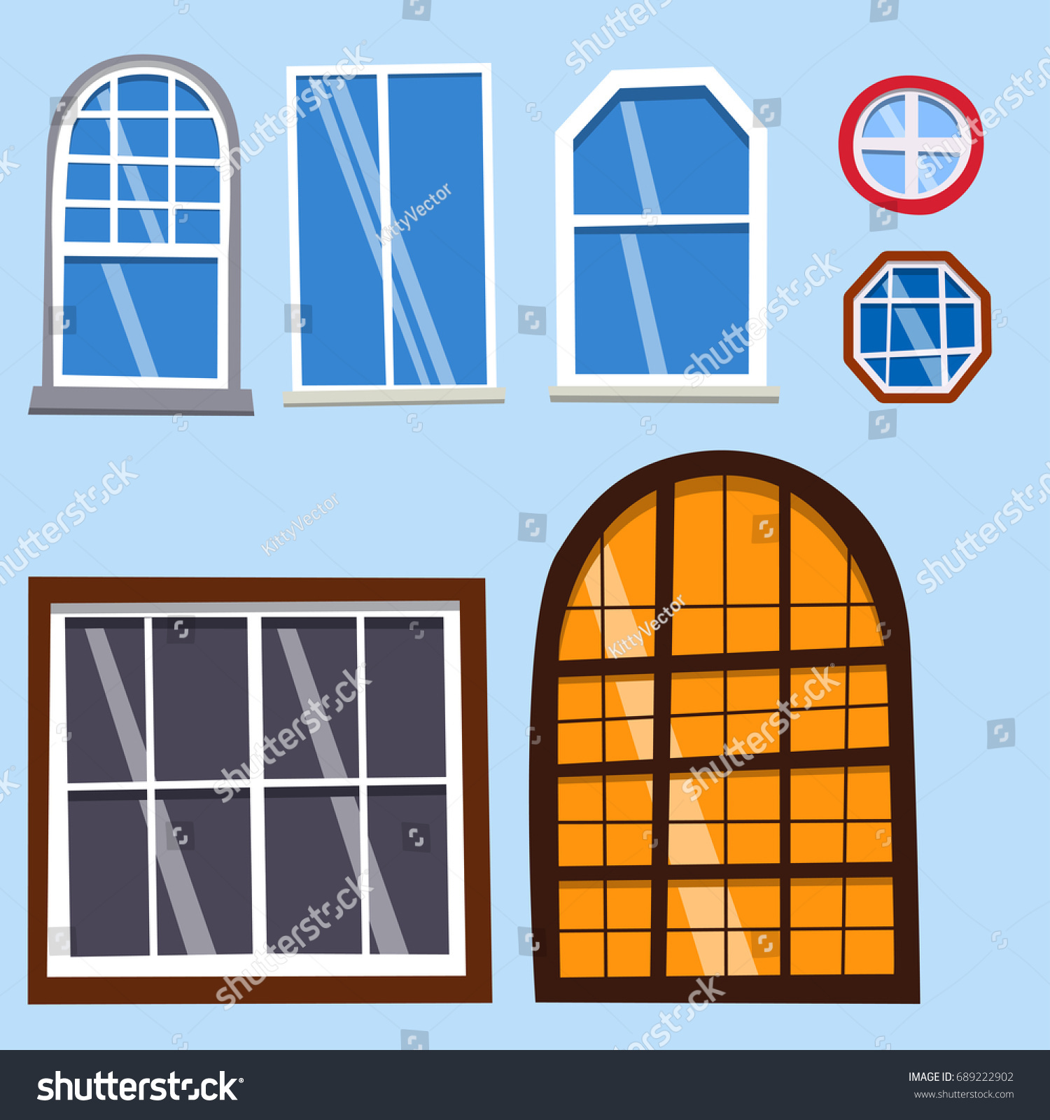 Different types house windows elements flat stock vector for Different types of house windows