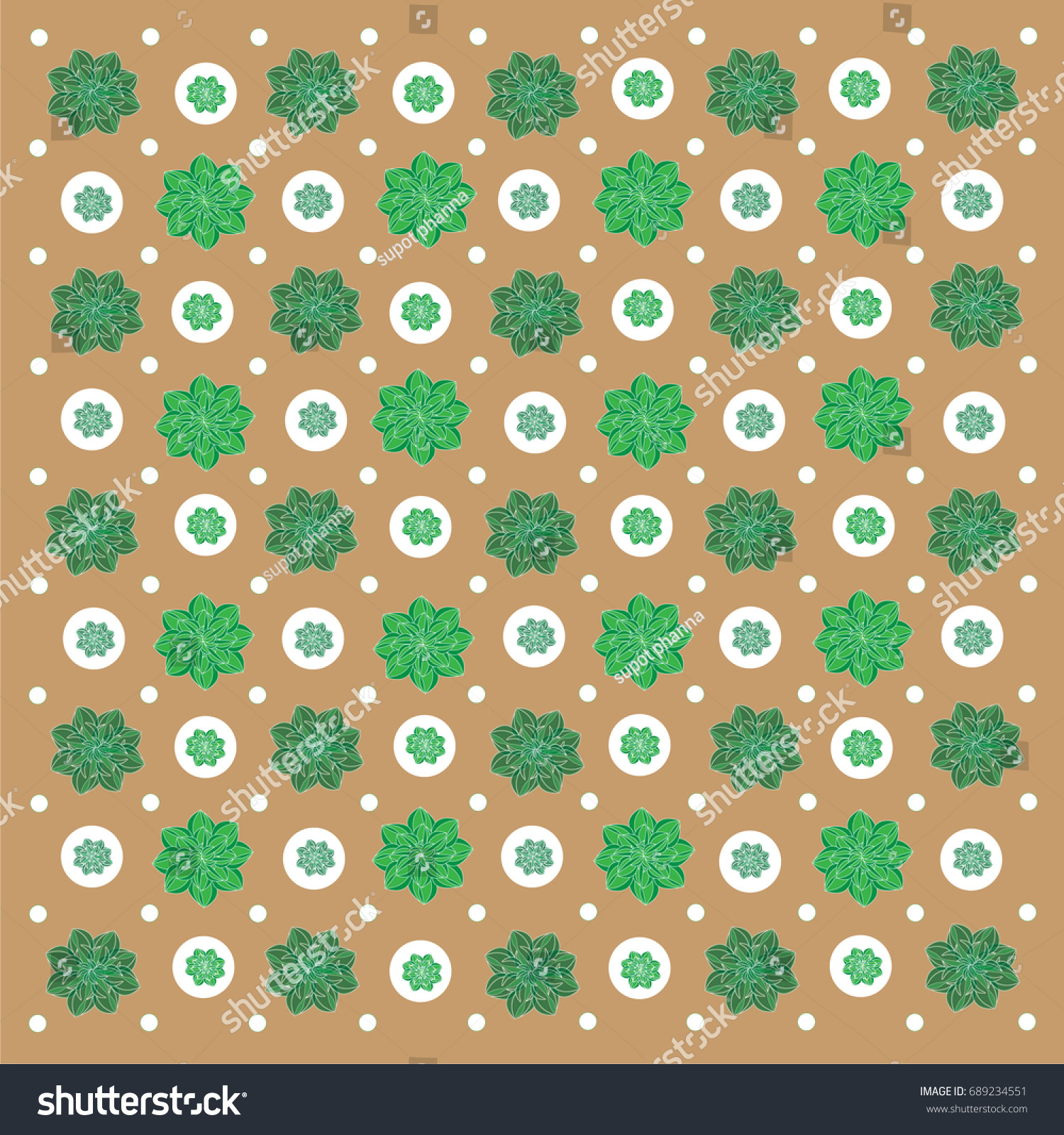 Wallpaper Green Fower On Brown Background Stock Vector - Green and brown wallpaper