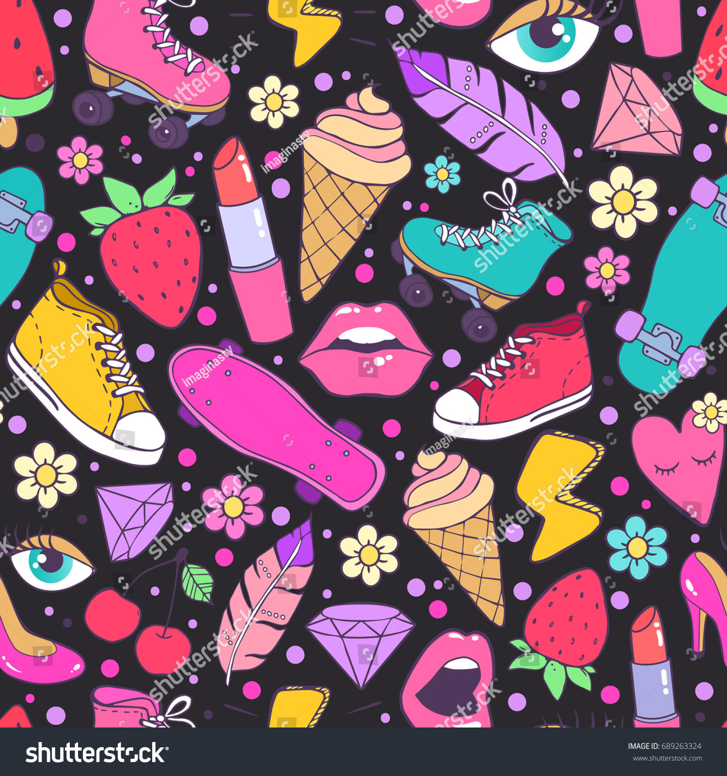 Cool bright and colorful trendy pattern. Fashion background on black with funny  teen's stuff: