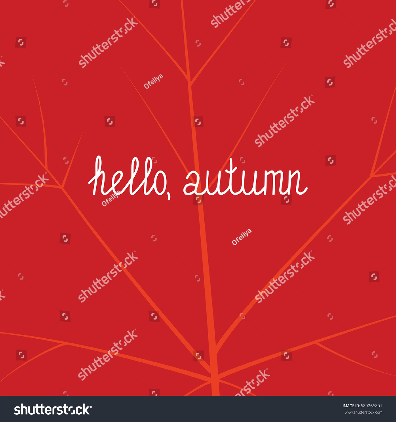 Hello Fall Giftcard With A Red Fallen Leaf With Veinlets In The Background,  With Hello