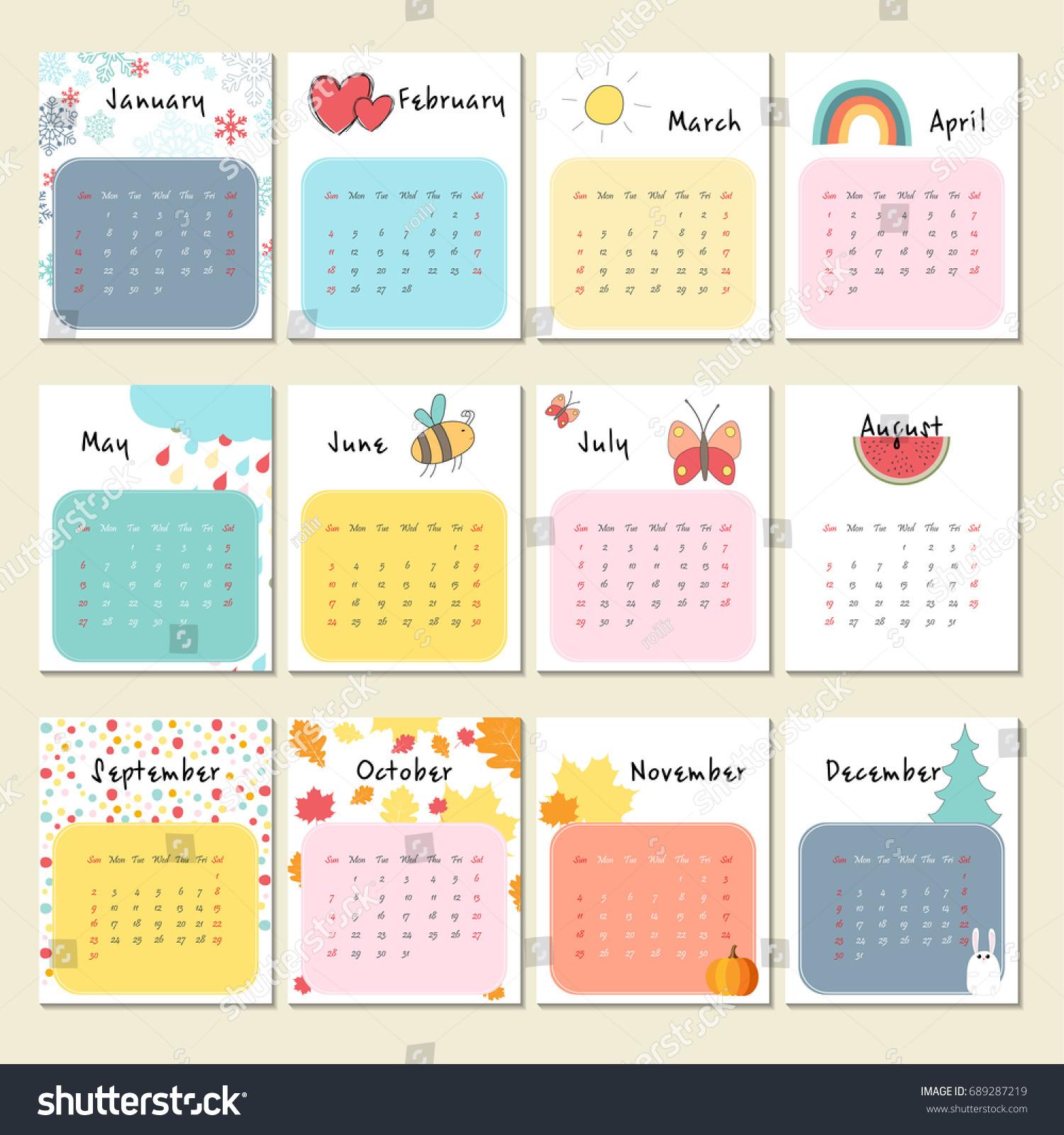 Unusual Cute Calendar 2018 Week Starts Stock Vector Royalty Free