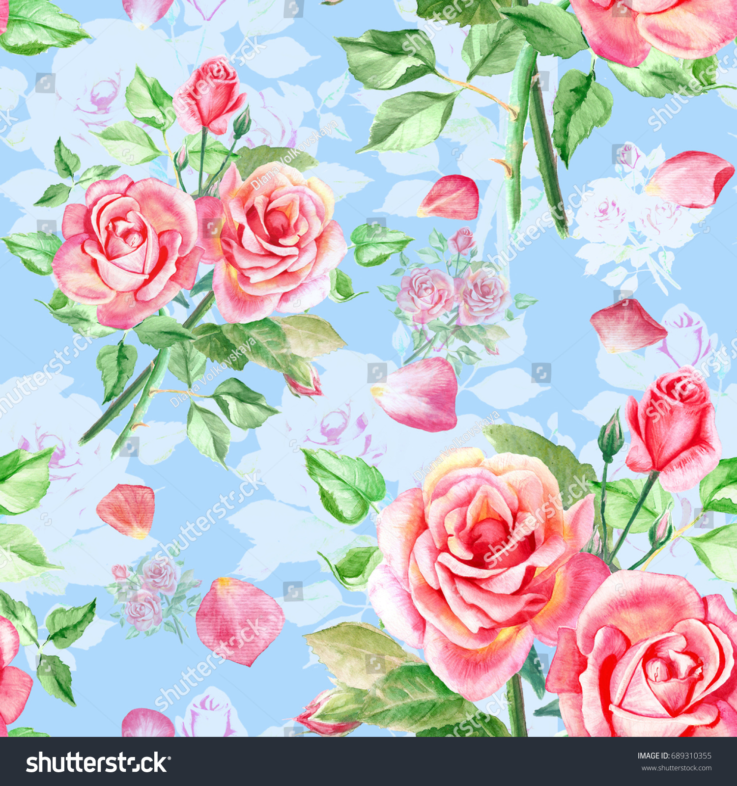 Seamless Watercolor Pink Roses Pattern With Rose Petals Bouquet Of