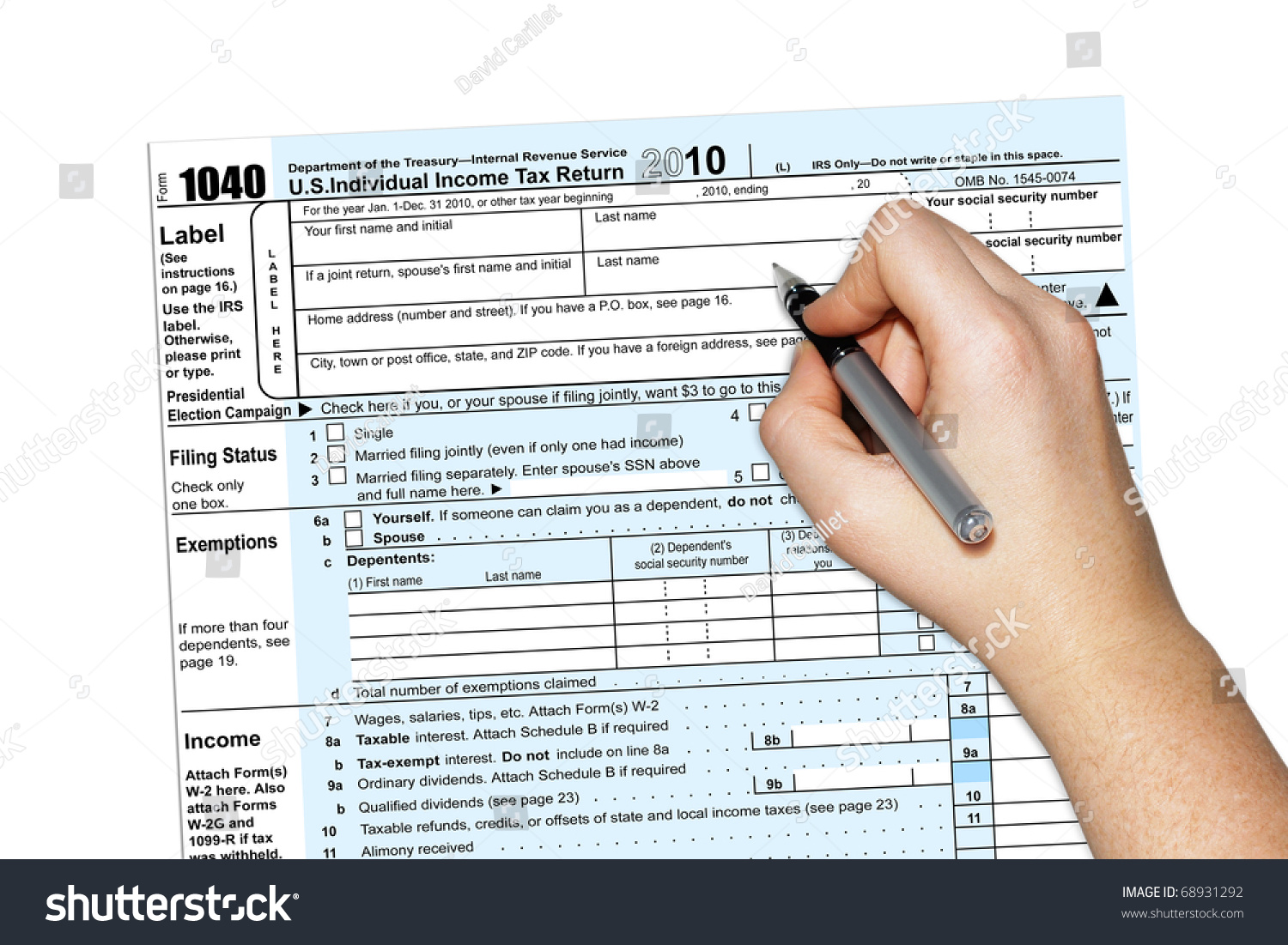 Preparing fill out 1040 tax form stock photo 68931292 shutterstock preparing to fill out a 1040 tax form for year 2010 falaconquin