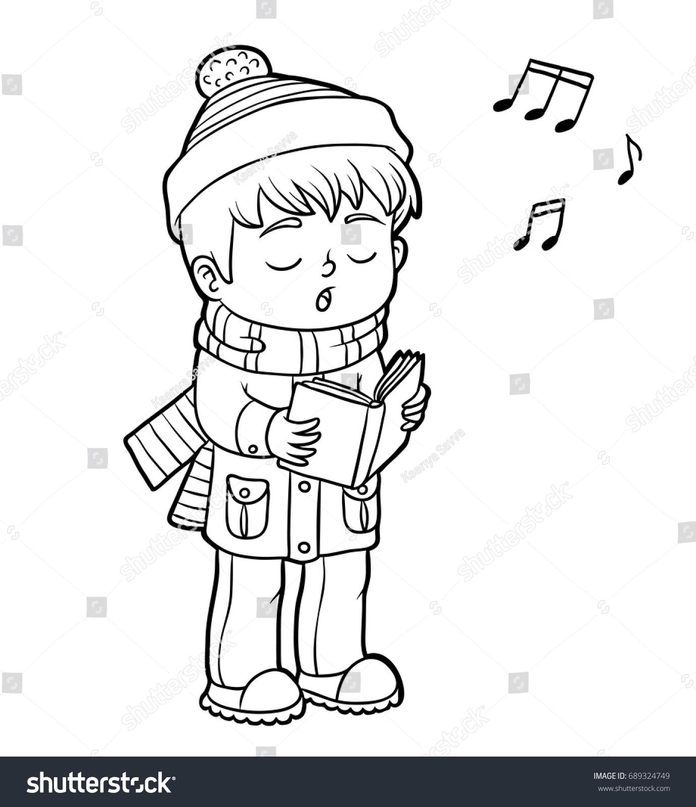 coloring book children boy singing christmas stock vector