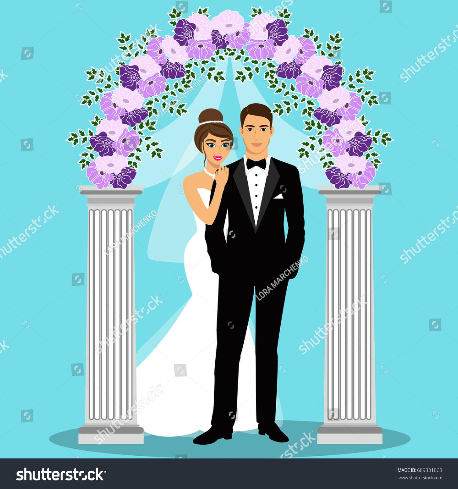 Invitation Card Bride Groom Vintage Style Stock Illustration ...
