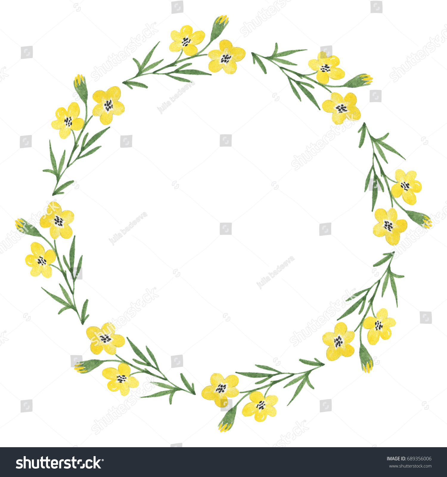 Floral Wreath Yellow Flowers Watercolor Hand Stock Illustration