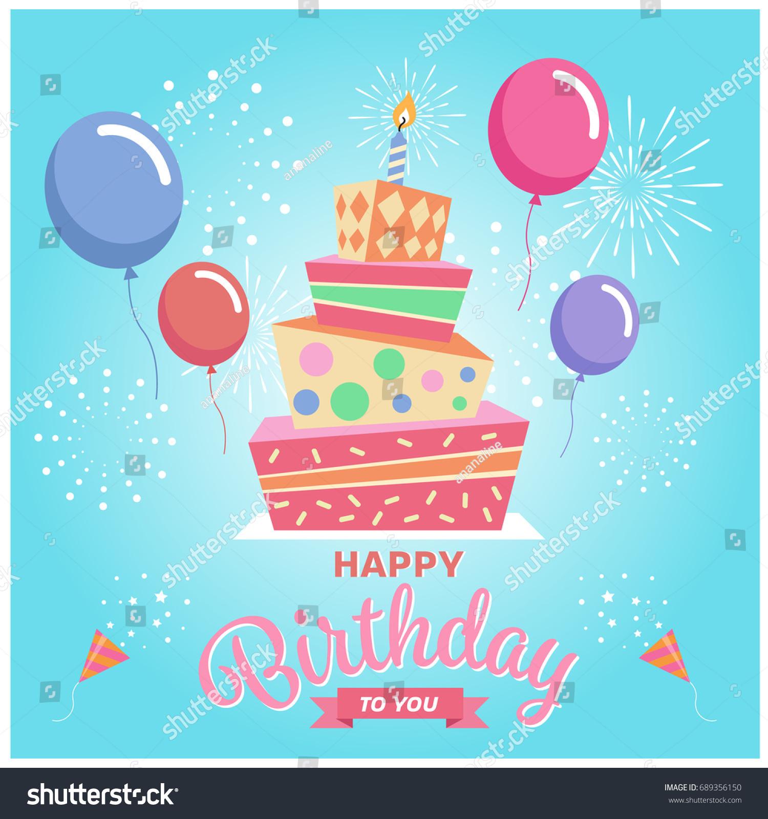 Happy Birthday You Square Cake Balloon Stock Vector Royalty Free