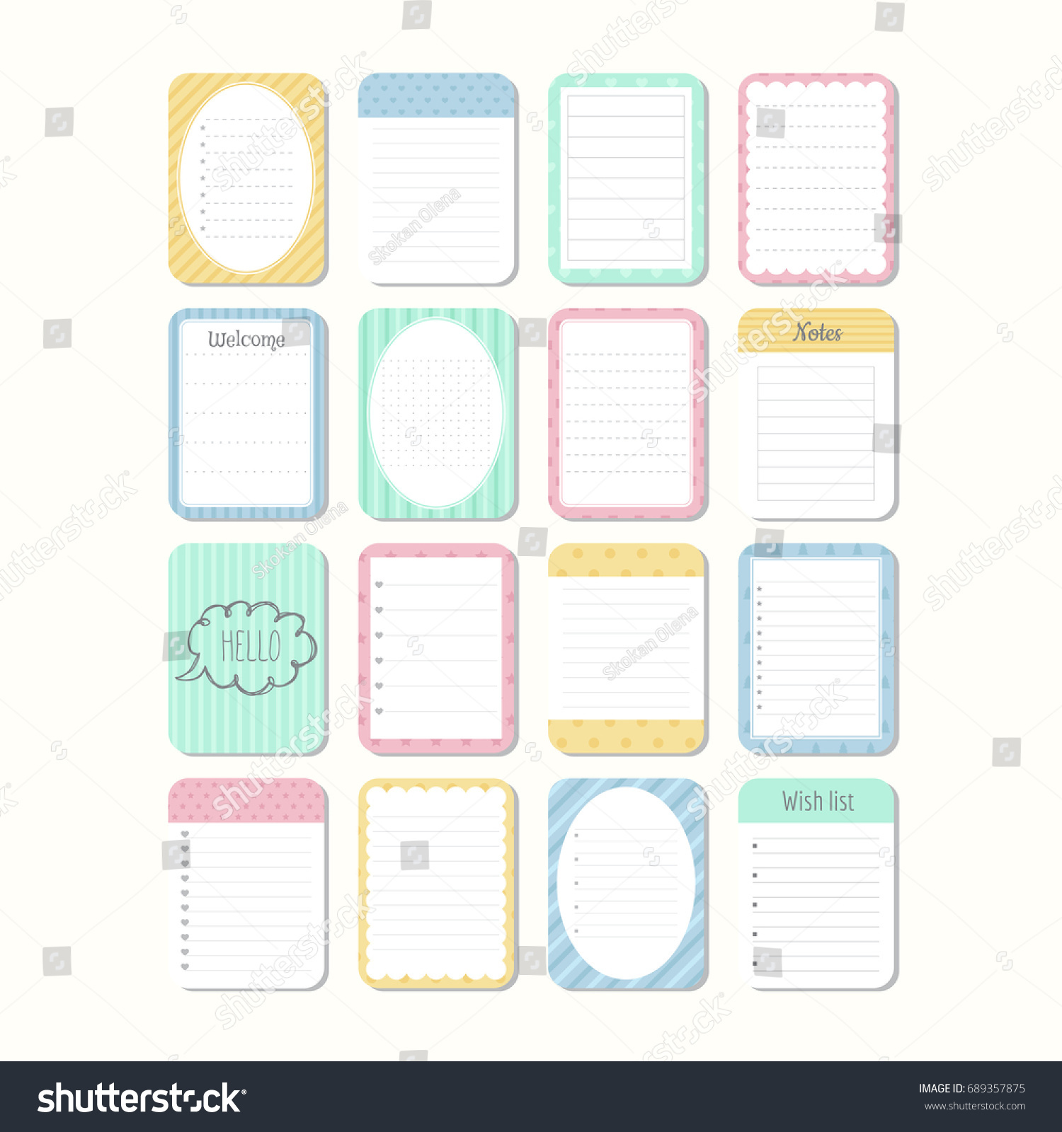 Notepad Template | Sheets Paper Template Notepad Collection Various Stock Vector