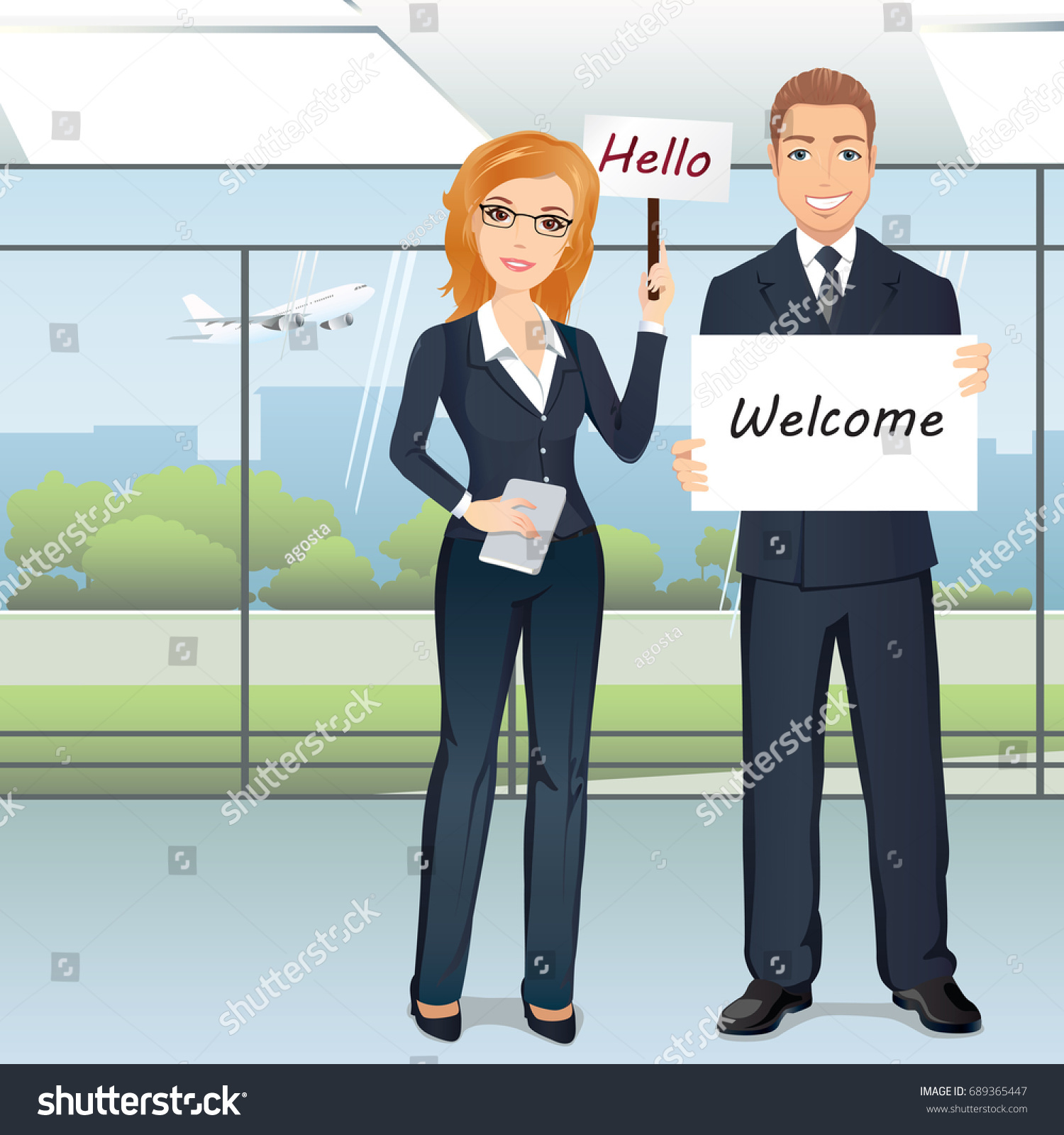 Group People Meet Someone Airport Hall Stock Vector Royalty Free