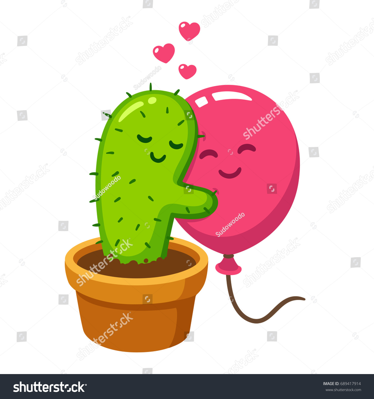 cute cartoon cactus and balloon hug vector drawing love hurts funny valentines day