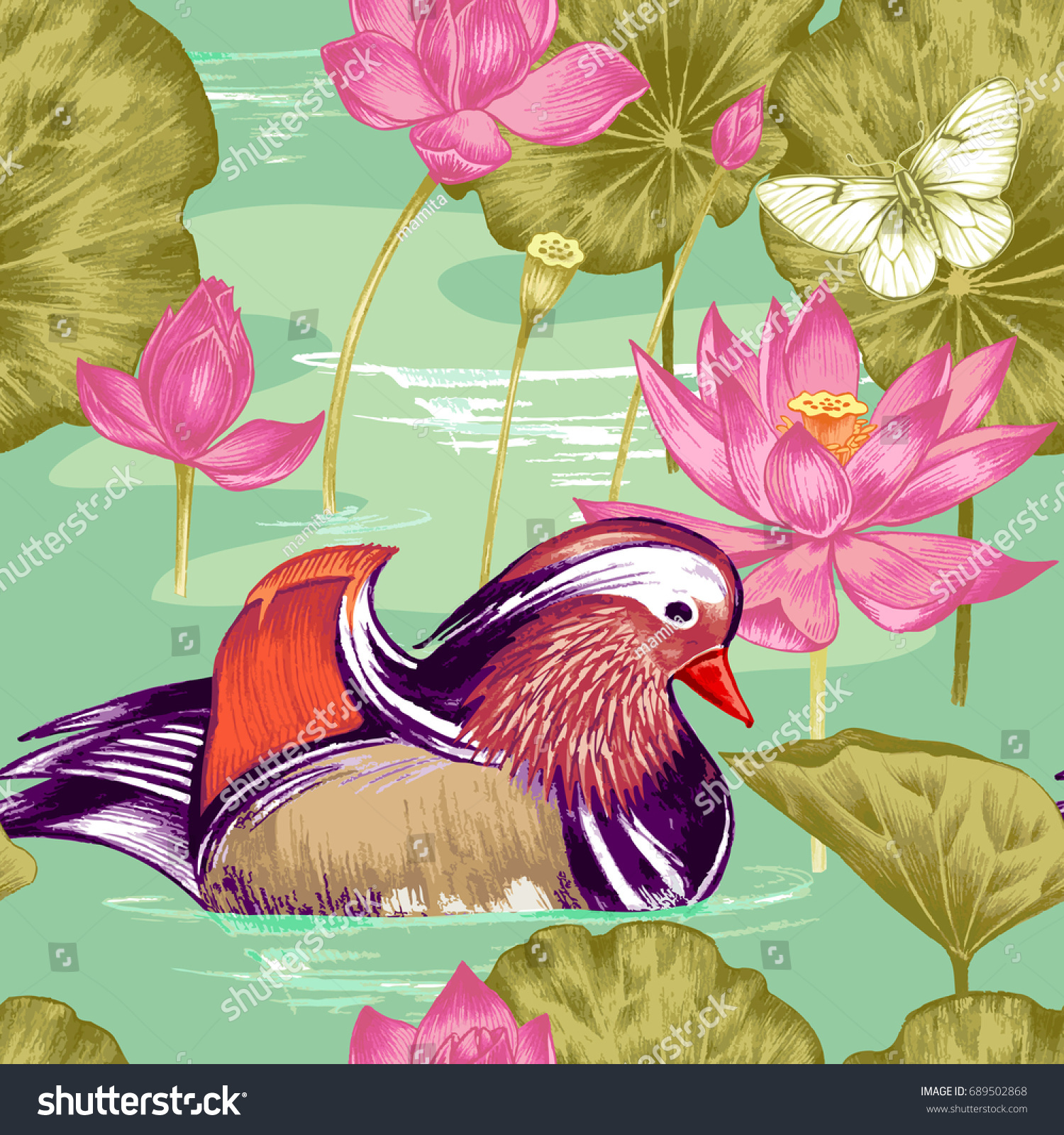 Royalty Free Stock Illustration Of Lotus Mandarin Duck Water Drawn
