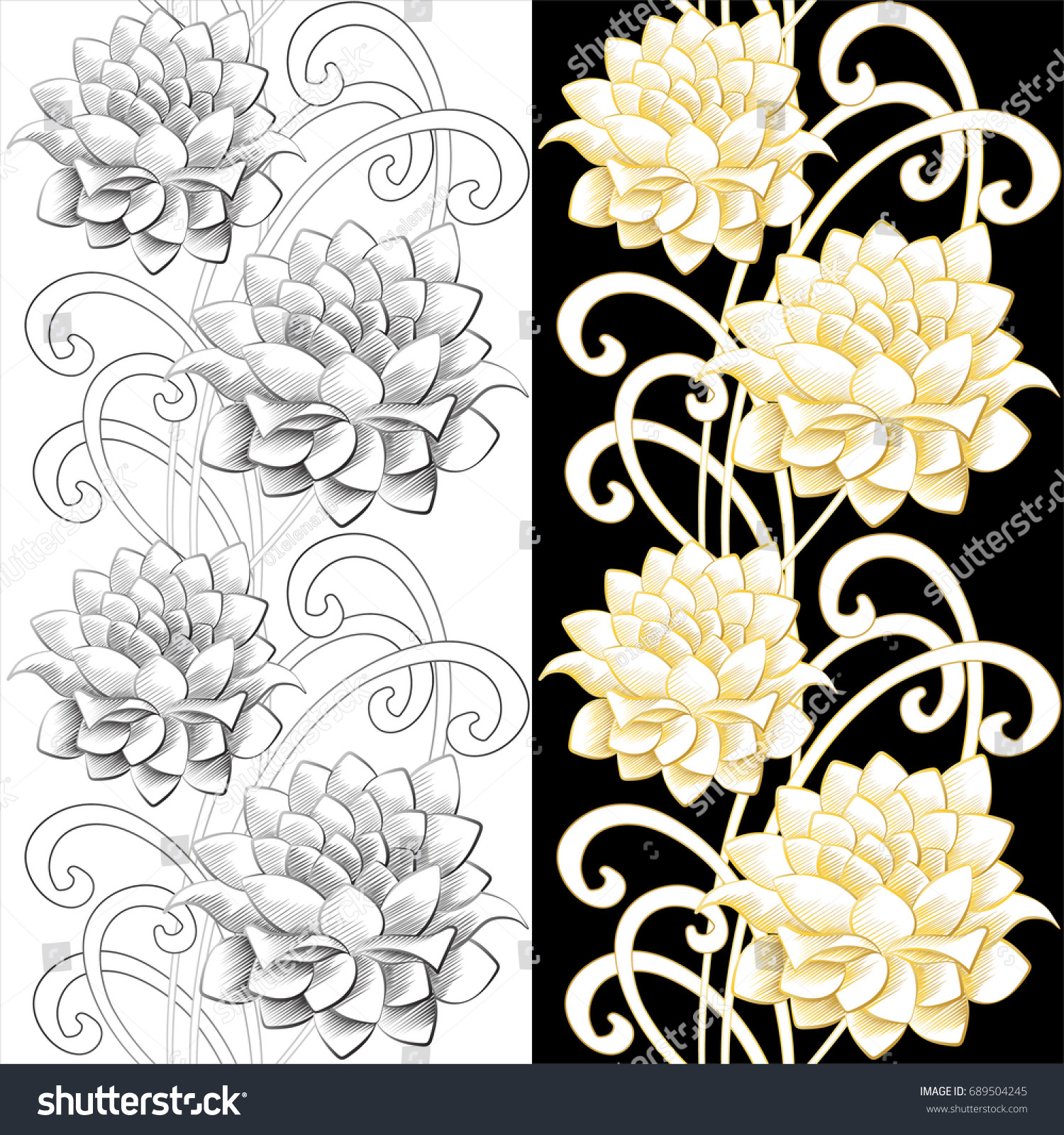 Lotus Flower Abstract Seamless Pattern Vector Stock Vector Royalty