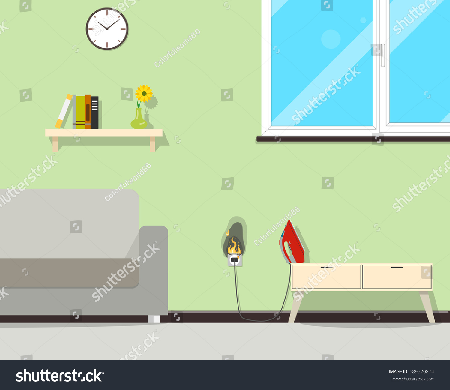 Because High Voltage On Network Wiring Stock Vector Royalty Free Diagram Room Of The In House Caught Fire