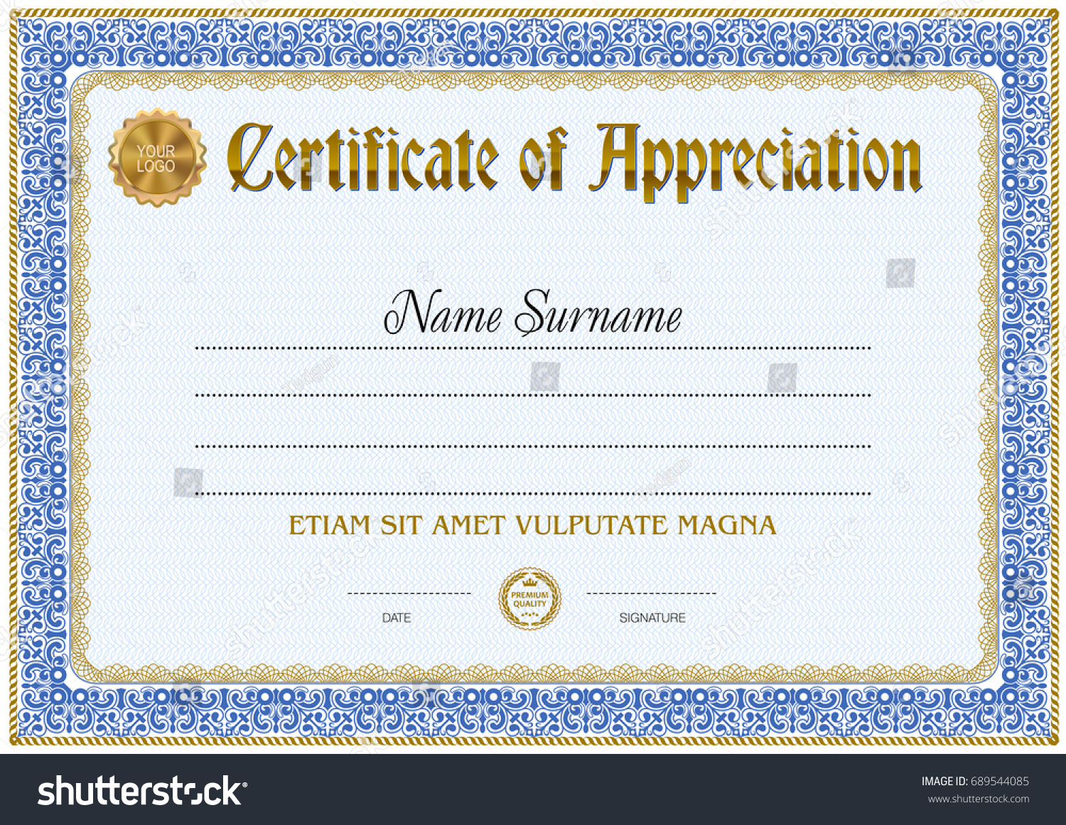 Certificate of appreciation blank template gallery certificate certificate blank templatetextured background empty text stock certificate blank templatetextured background with empty text area blue yadclub Image collections