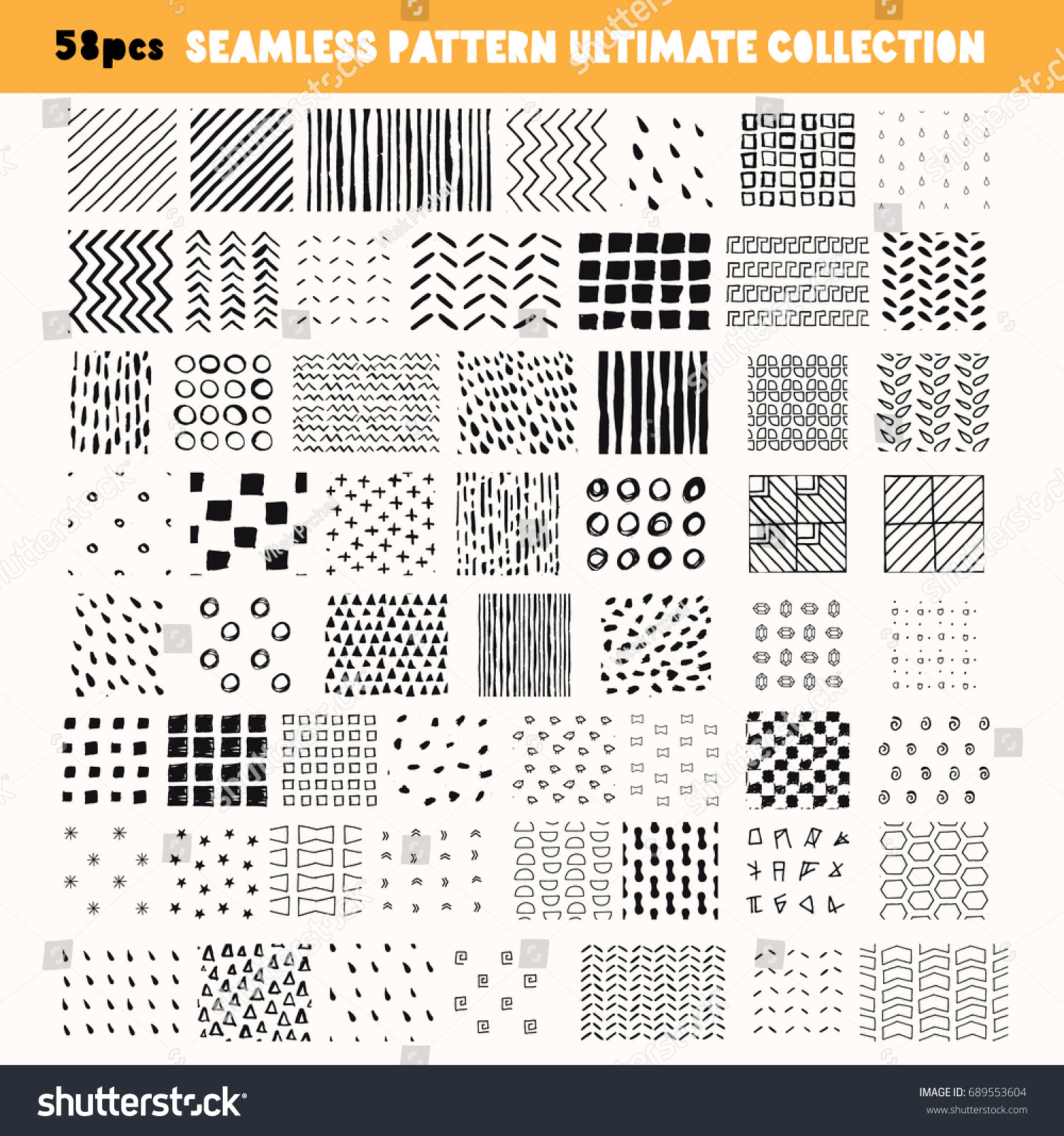 bundle handdrawn seamless patterns get 58 x stock vector 689553604