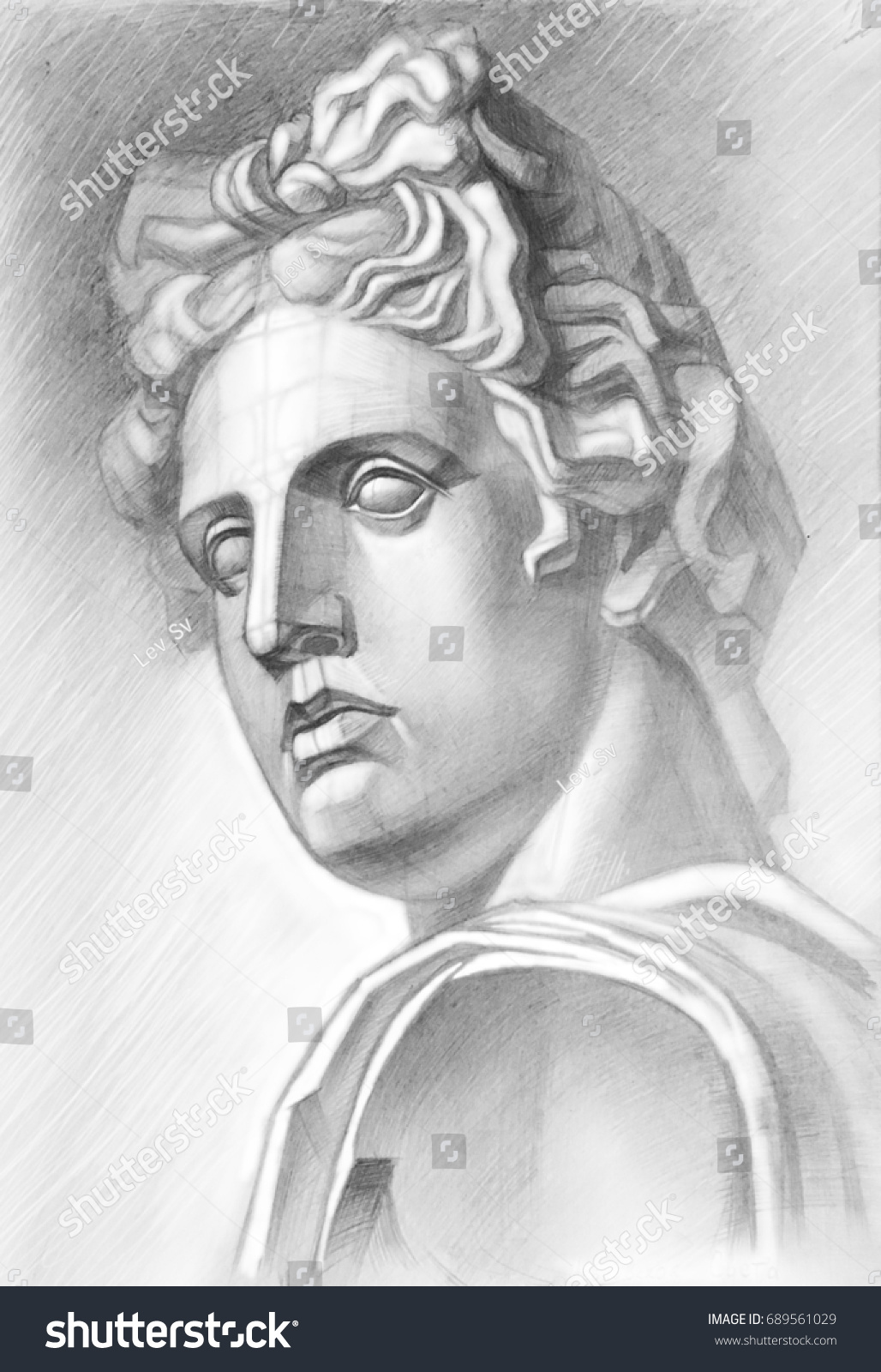 Sketch with a soft pencil a sketch of the plaster head of apollo in a