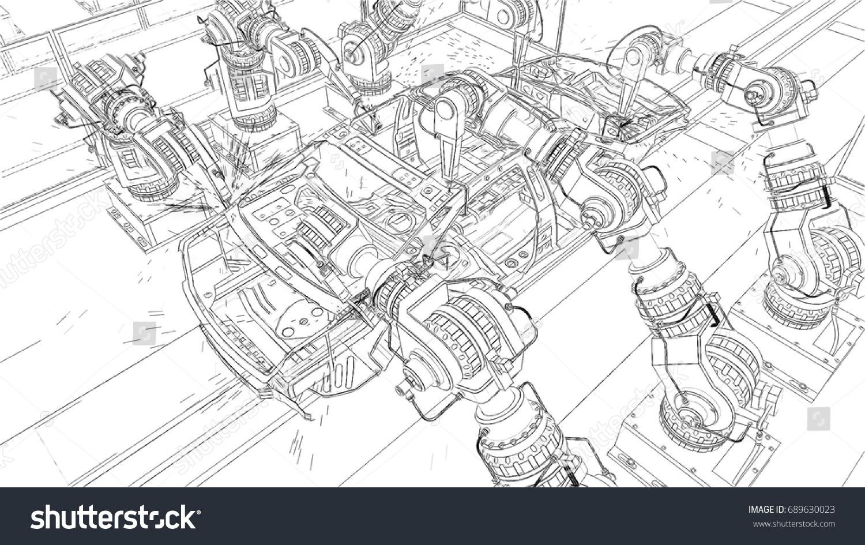 Car Conveyor Belt On Automobile Plant Stock Illustration 689630023 Spot Welding Diagram The With Robots 3d Rendering