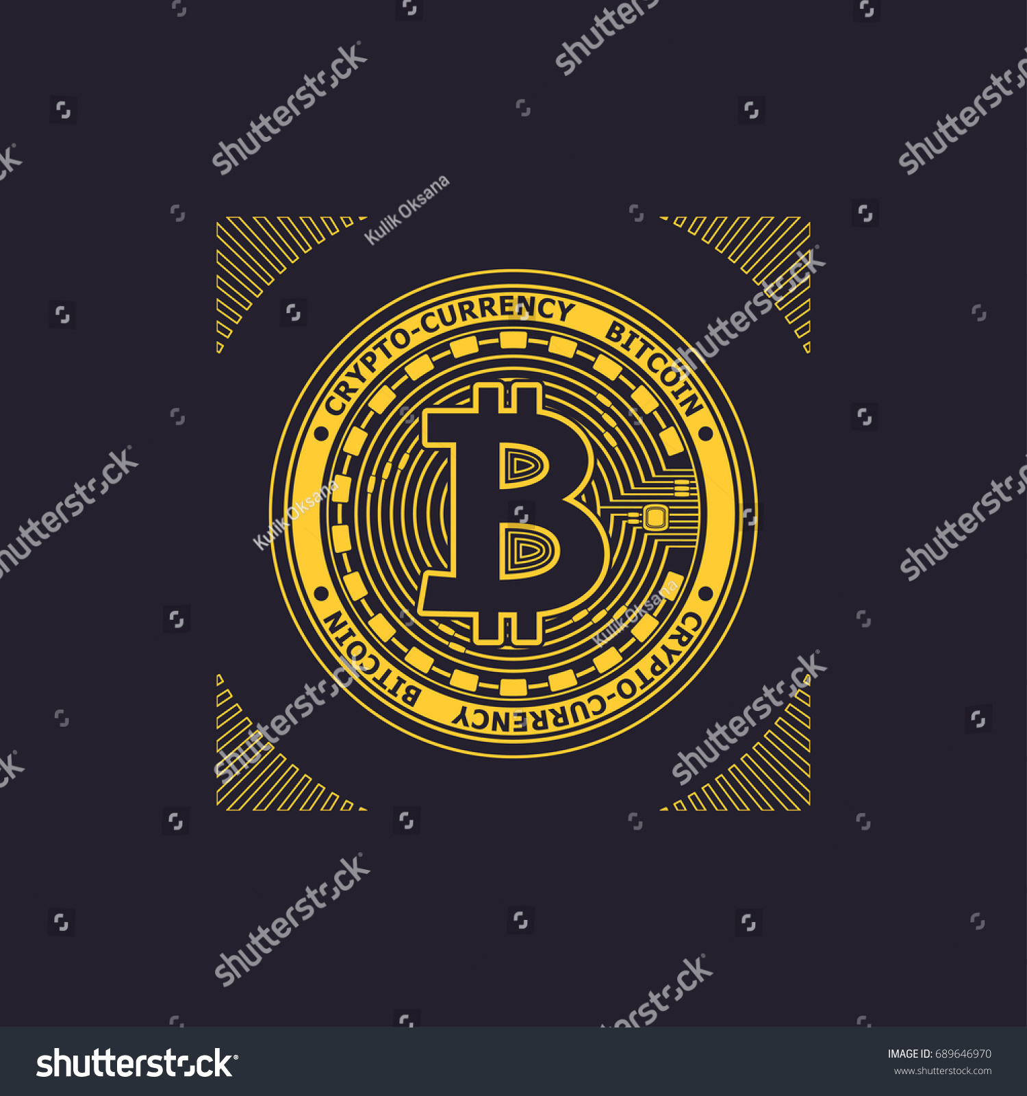 Cryptocurrency Bitcoin Emblem Symbol Gold On Stock Vector 689646970