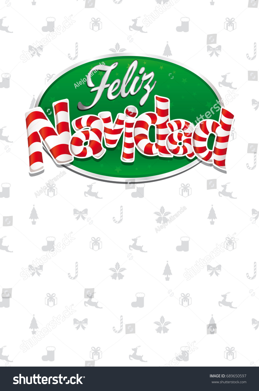 Feliz Navidad Merry Christmas Spanish Language Stock Vector Royalty