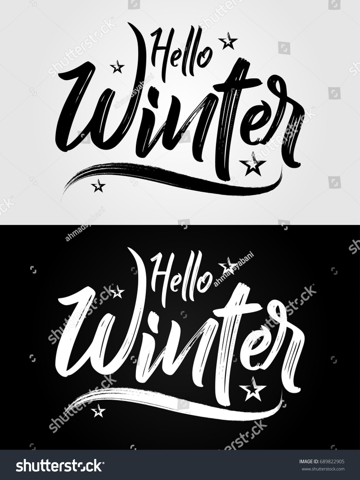 Hello Winter   Grunge Brush   Vector For Greeting, Celebrate, Holiday,  Season