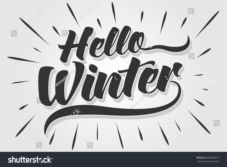 Merveilleux Hello Winter   Typography   Handwritten Vector Illustration, Brush Pen  Lettering, For Greeting,