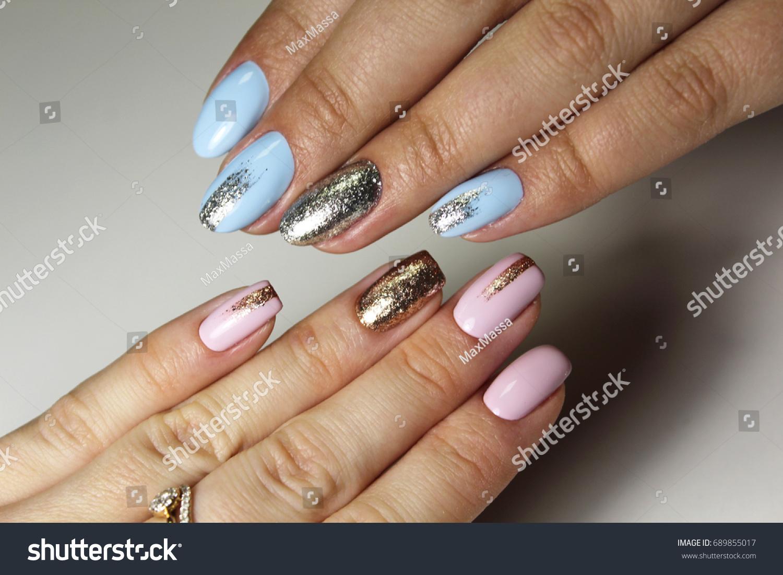 Tender Design Manicure Different Color Nails Stock Photo Edit Now