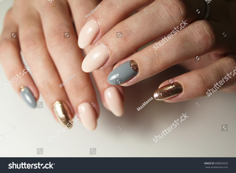 Tender Design Manicure Short Nails Stock Photo (Edit Now) 689855035 ...